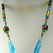 Art Deco Czechoslovakia Ice Blue Floral Art Glass Necklace 1930's