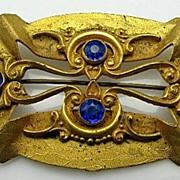 Edwardian Large Ornate Golden Blue Jeweled Rhinestone Sash Pin Antique