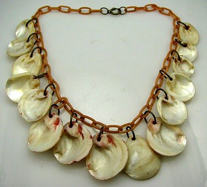 Art Deco Celluloid & Shells Dangle Charm Drop Necklace Loaded Dangling Fun