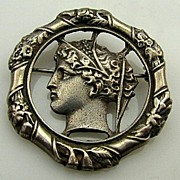Extremely Rare HOBE GREEK GODDESS Sterling Silver Pin Brooch