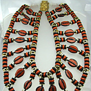 Bold Miriam Haskell Statement Necklace Big Art Glass Beads CATHY GORDON Collection