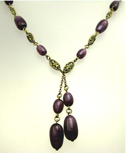 Art Deco Purple Slag Art Glass Bead Czech Necklace