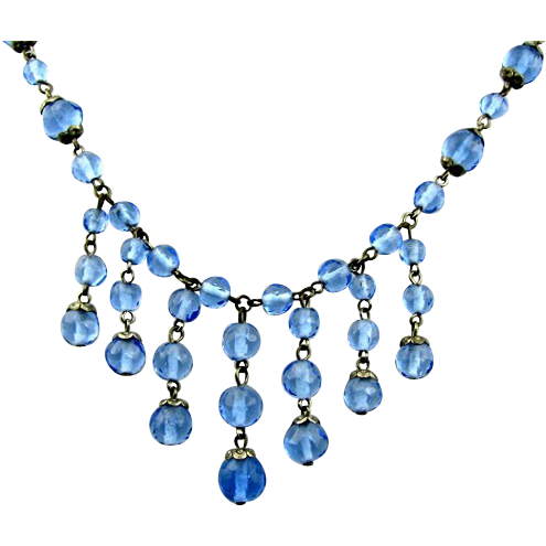Art Deco Blue Faceted Beaded Drippy Necklace