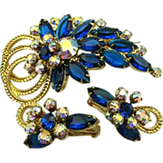Vibrant Blue Juliana Rhinestone Pin & Earrings