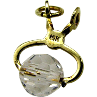 Super Art Deco 10K Gold Crystal Ice Tong Figural Charm