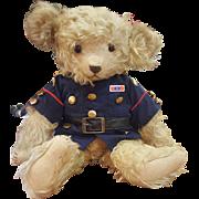 "Wonderful Vintage 17"" Musical Push Tummy Squeaker Jopi Mohair Teddy Bear"