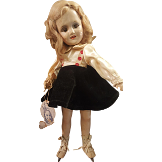 """1930's Madame  Alexander 13"""" Composition Sonja Henie Doll in Skiing Costume"""