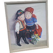 Wonderful Vintage Painting Of Kathe Kruse Dolls by Hungarian Artist Lolly Feher 1950's
