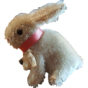 Adorable 1940's Steiff Sitting Rabbit with Collar and Bell 5 1/2""