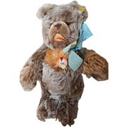"""Vintage 1970's Steiff Zotty Bear 9"""" with Button and Flag"""