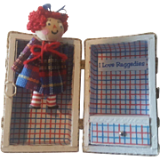 Vintage Artist Tiny Miniature Raggedy Ann Doll with Trunk