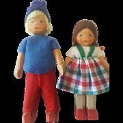 Vintage 1940's Wood Wooden Linden Swiss Boy & Girl Doll Pair