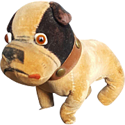 Vintage 1920's Velvet Velveteen Bully Dog with Glass Eyes