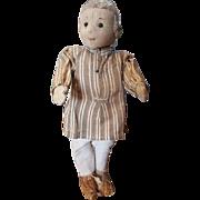 """Vintage Steiff Teddy Bear Co 1920's Felt Boy Doll with Button 10 1/2"""""""
