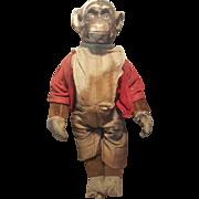 Vintage 1920's Horsman Felt & Composition Chimpanzee Doll