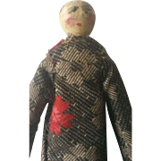 """Vintage Wooden Peg Doll with Painted Face 3 7/8"""""""