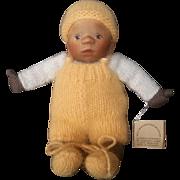 "Vintage Doll Artist Elisabeth Pongratz 7 1/2"" Carved Wood Ethnic Baby Doll with Tag"
