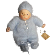 "Vintage Doll Artist Elisabeth Pongratz 7 1/2"" Carved Wood  Baby Doll with Tag"