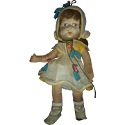 """Vintage 16"""" Pior Cloth Doll with Human Hair"""
