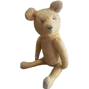 "Vintage 1920's Bristle Mohair Teddy Bear with Glass Eyes 13"""