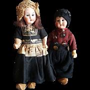Wonderful Vintage AM Bisque Head Dutch Boy & Girl Doll Pair
