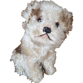 """1930's Large Steiff Mohair Molly Dog with FF Button 8"""""""
