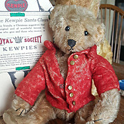 "Antique 1908 Steiff 9"" Teddy Bear with Red Mohair Coat"