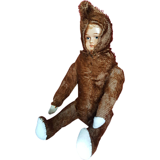 Vintage 1920's Celluloid Face Teddy Bear Doll