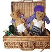"Pair of 16"" Antique Teddy Bears with Wardrobe from the Seitz Twins Estate"