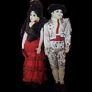 Vintage Folk Art Cloth Spanish Doll Couple