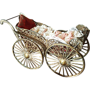 Vintage Metal Doll House Doll Carriage with Bisque Baby