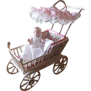 Vintage Doll Artist Wood Carriage with All Bisque Baby Doll