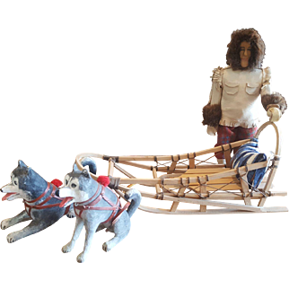Vintage 1960's Carved Wood Wooden Alaska Doll with Sled & Dogs