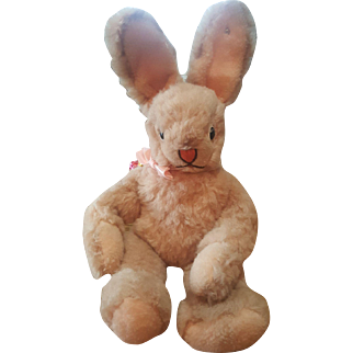 Vintage Steiff Pink Bunny Rabbit with Button