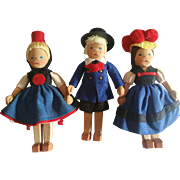 Vintage 1940's Wood Wooden Linden Swiss Boy & Girl Doll Pairs