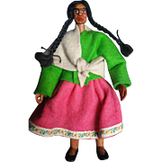 Vintage Carved Wood Native American Doll
