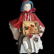 """Vintage 12 1/4"""" Wood Wooden Peg Peddler Penny Doll"""