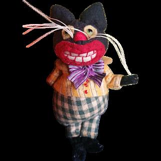 Adorable Artist Jodi Battaglia Halloween Cat BOO Felt Doll