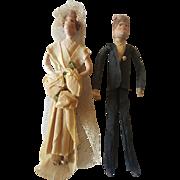 Vintage 1930's Bernard & Frances Ravca Crepe Paper Bride & Groom Dolls