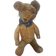 Vintage 1920's Mohair Teddy Bear with Spectacles From the Blackler Collection