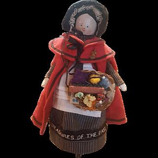 "Vintage 1990's Artist UFDC Wood Wooden Peg Peddler Woman Doll 9 3/4"""