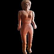 "Primitive Folk Art Carved Wood Fertility Woman Doll 10 1/2"""