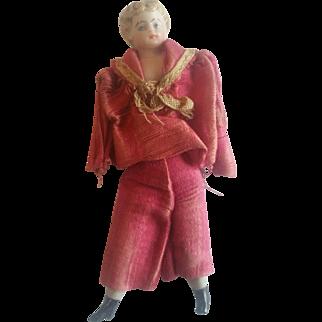 Antique 1900's Bisque Dollhouse Little Boy Doll