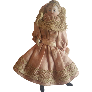Antique 1900's Bisque Dollhouse Little Girl Doll