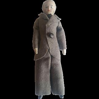 Antique 1900's Bisque Dollhouse Grandpa Man Doll