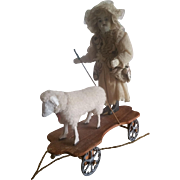 Vintage Bisque Head Doll with Lamb Pull Toy