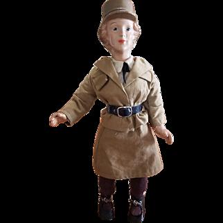 """1942 Freundlich WAAC Composition Army Doll 15"""""""