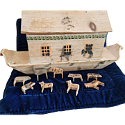 Vintage Early Wooden Noah's Ark Toy with Animals
