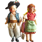 Vintage Germany Painted Bisque Ethnic Boy and Girl Pair