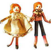 Vintage Artist Miniature Raggedy and Andy Pair 2""